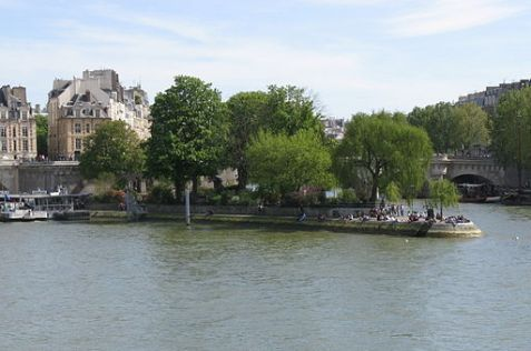 Square du Vert-Galant, at the tip of Île de la Cité (photo by Rafael Garica-Suarez, from Wikimedia commons)