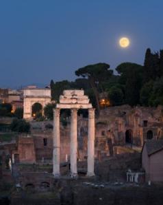 roman forum w moon (by RomaOslo)