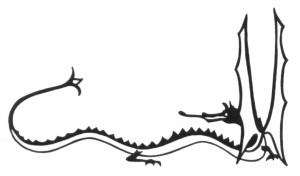 Smaug, b&w, direction pictured in bookDragonSketch