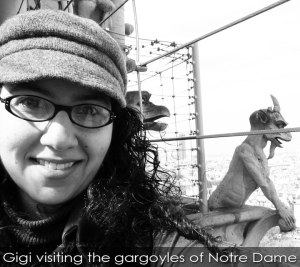 Gigi-Pandian-with-Notre-Dame-gargoyle-web-text